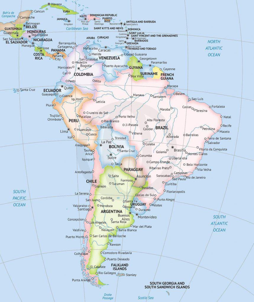 South America countries delineated by pastel colors, includes capitals and major cities and rivers