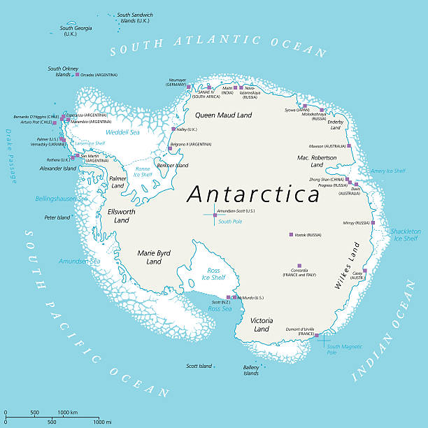 Antarctica map with research stations identified